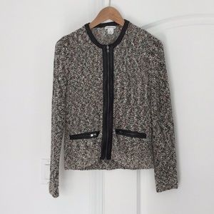 Club Monaco 100% Leather-Trimmed Knit Sweater